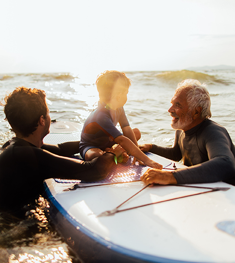 Family on paddle board